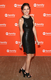 Haley Ramm chose a pair of chunky-heeled wide-strap sandals to team with her dress.