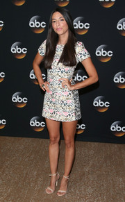 Jada Catta-Preta put her pins on display in a super-short floral dress during the TCA Summer Press Tour.