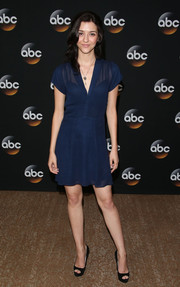 Katie Findlay chose a simple navy sheer-overlay mini for the TCA Summer Press Tour.