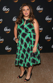 Cristela Alonzo attended the TCA Summer Press Tour wearing a grid-print dress with a keyhole neckline.