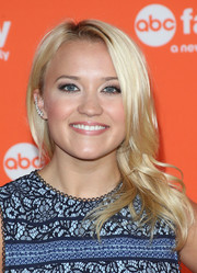 Emily Osment sported a shiny hairstyle with feathery ends during the TCA Summer Press Tour.