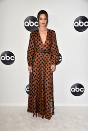Leighton Meester looked adorable in a brown polka-dot maxi dress by Zimmermann at the Disney ABC TCA Summer Press Tour.