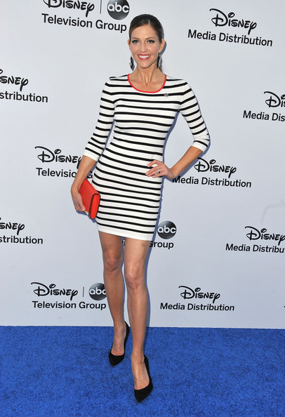 A striped dress gave Tricia Helfer a classic and preppy look at the Disney Media Upfront Event.