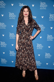 Kathryn Hahn attended D23 Expo wearing a printed brown shirtdress.