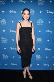 Daisy Ridley looked simply elegant in a dotted black midi dress by Dolce & Gabbana at the Disney Studios Showcase Presentation during D23 Expo.