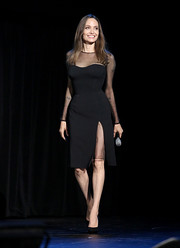 Angelina Jolie looked beautiful, as always, in a sheer-panel LBD by Versace at the Disney Studios Showcase Presentation during D23 Expo.