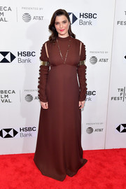 Rachel Weisz was edgy-glam in a brown Chloé gown with slashed shoulders and gold armbands at the Tribeca Film Festival premiere of 'Disobedience.'