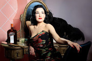 Dita Von Teese Poses in Dolce and Gabbana Evening Dress