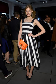 Constance Jablonski had us seeing black-and-white with this striped frock.