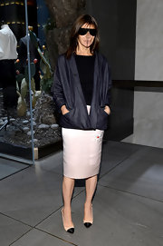 Carine Roitfeld chose a modern take on the classic denim jacket with this blazer-style jacket.
