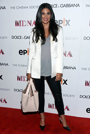 Rachel Roy looked classic and chic in a white oversized blazer.