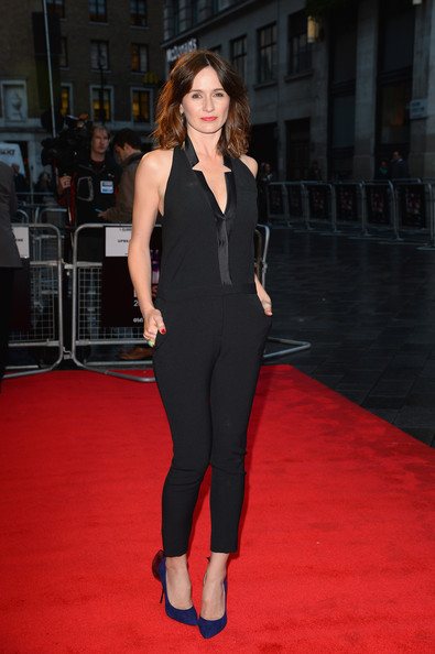Emily Mortimer looked sexy and chic in a halterneck jumpsuit with a deep-V neckline during the 'Doll and Em' screening in London.