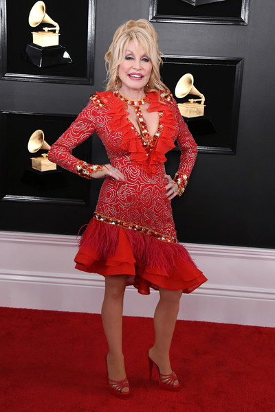 Dolly Parton Platform Sandals [red carpet,carpet,clothing,flooring,dress,red,cocktail dress,lady,hairstyle,blond,arrivals,dolly parton,grammy awards,staples center,los angeles,california,annual grammy awards]