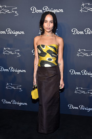 Zoe Kravitz donned an abstract-print bustier by Oscar de la Renta for the 'Assemblage' exhibition.