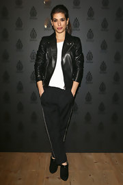 Giulia Michelini opted for a classic leather jacket while attending the Dondup Fashion event in Milan.