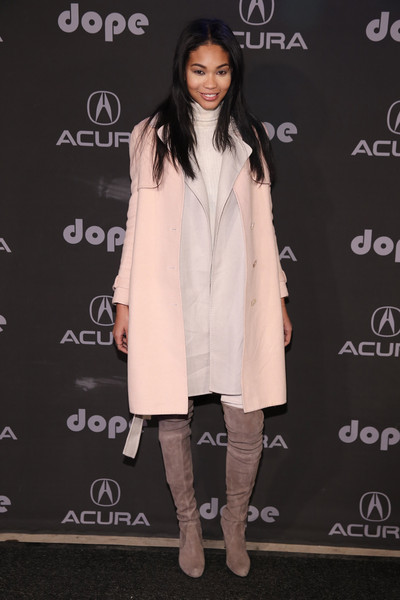More Pics of Chanel Iman Over the Knee Boots (1 of 4) - Boots Lookbook - StyleBistro [clothing,outerwear,fashion,footwear,coat,trench coat,joint,knee-high boot,overcoat,fashion model,chanel iman,park city,utah,dope,acura studio,the acura studio,party,party]