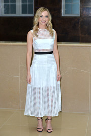 Simple ankle-strap sandals made sure the focus was on Joanne Froggatt's charming frock.