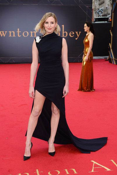 Laura Carmichael went modern in an asymmetrical black fishtail dress by Monse at the world premiere of 'Downton Abbey.'