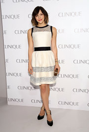Katharine McPhee wore a stunning, fitted A-line dress with black trim and silver stripes to the Clinique Dramatically Different Party in NYC.