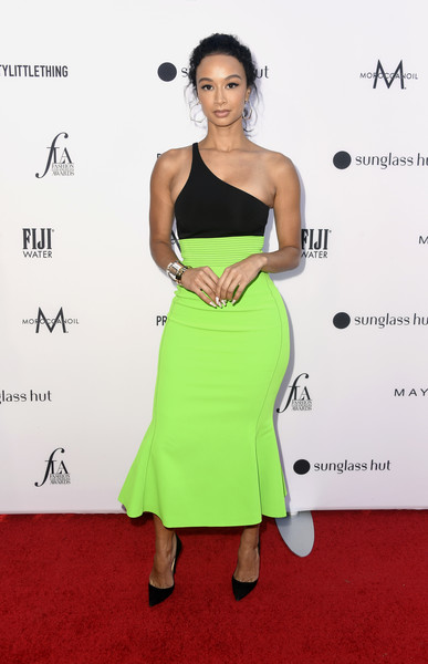 Draya Michele One Shoulder Dress [clothing,dress,shoulder,cocktail dress,fashion model,hairstyle,carpet,red carpet,fashion,strapless dress,arrivals,draya michele,beverly hills hotel,california,daily front row,5th annual fashion los angeles awards]