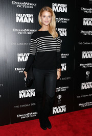 Kate Back was casual yet cute in a black-and-white striped boatneck sweater during the 'Delivery Man' screening in NYC.