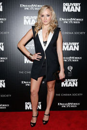 Nastia Liukin looked fierce in her sexy navy skirt suit during the 'Delivery Man' screening in NYC.