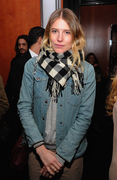 Dree Hemingway Patterned Scarf [hair,scarf,hairstyle,fashion,long hair,outerwear,textile,event,fashion design,fur,dree hemingway,the lambs club,new york city,cinema society and sandro present a special screening of ``starlet,party]