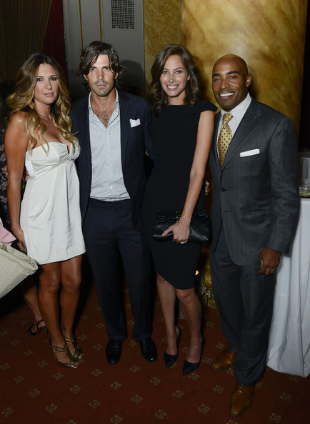 Nacho Figueras attended the DuJour Magazine launch party wearing a stylish black pinstripe suit.