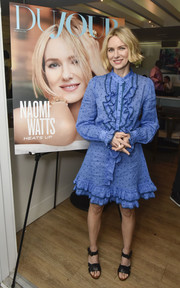 Naomi Watts kept it demure in a dotted blue dress with a ruffled bodice and hem at the DuJour Media Memorial Day kickoff.