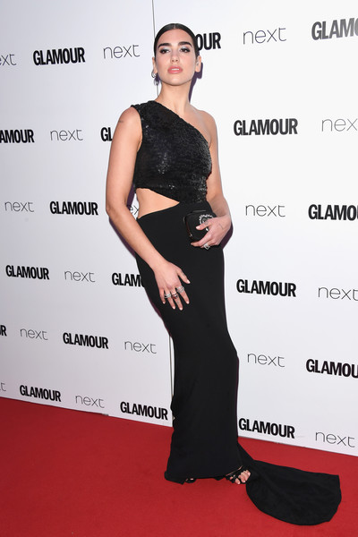 Dua Lipa Gemstone Inlaid Clutch [dress,clothing,shoulder,carpet,red carpet,premiere,fashion,cocktail dress,joint,event,glamour women of the year awards,awards,england,london,berkeley square gardens,red carpet arrivals,dua lipa,glamour women of the year]