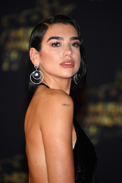 Dua Lipa Sterling Dangle Earrings [hair,face,eyebrow,beauty,lip,skin,hairstyle,shoulder,lady,chin,red carpet arrivals,cannes,france,dua lipa,nrj music awards,palais des festivals]