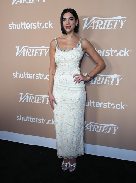 Dua Lipa Beaded Dress [variety,dua lipa,dress,clothing,shoulder,fashion model,cocktail dress,gown,fashion,hairstyle,premiere,joint,2nd annual hitmakers brunch - arrivals,2nd annual hitmakers brunch,sunset tower,los angeles,california]