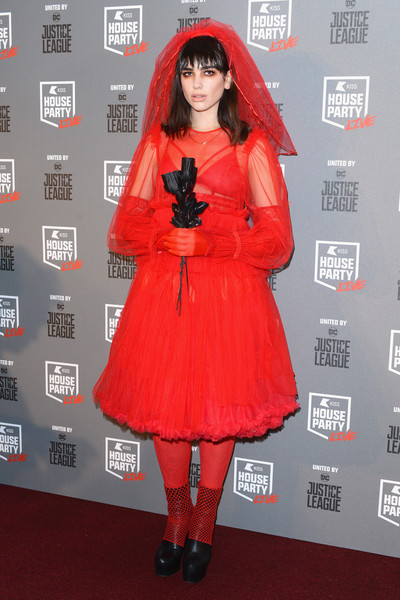 Dua Lipa Cocktail Dress [kiss haunted house party,dua lipa,clothing,red,carpet,red carpet,dress,flooring,fashion,costume,premiere,outerwear,sse arena,london,england]