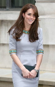 Kate Middleton wore a three-quarter sleeved beaded dress with ornate details along the neckline and sleeves to the Place2Be Headteacher Conference in England