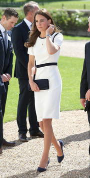 Kate Middleton was minimalist yet stylish in a black-and-white Jaeger dress while visiting the National Maritime Museum.