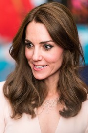 Kate Middleton styled her look with a lovely diamond bib necklace by Monica Vinader.