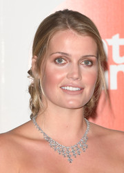 Kitty Spencer added a heavy dose of glamour with a diamond chandelier necklace.