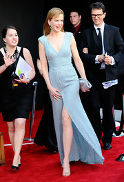 Nicole Kidman opted for dainty footwear at the BAFTA Brits to Watch event in ultra-delicate champagne India sandals.