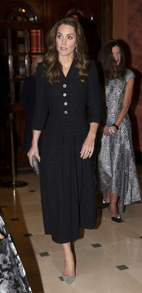 Kate Middleton attended a charity performance of 'Dear Evan Hansen' wearing a black tweed dress by Eponine London.