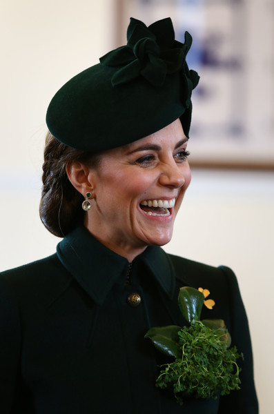 Kate Middleton donned a dark green hat for the Irish Guards St. Patrick's Day Parade.