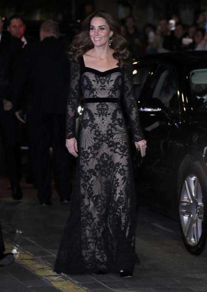 Kate Middleton looked supremely elegant in a black lace gown by Alexander McQueen at the Royal Variety Performance.