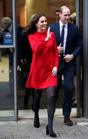 Kate Middleton kept it simple yet sweet in a long-sleeve red shift dress by Goat while attending a 'Stepping Out' session.
