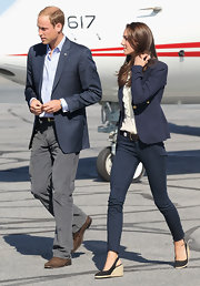 Prince William donned a pair of corduroy pants with a blazer for his Canadian tour.