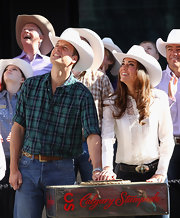 Prince William wore a brown leather belt for his country ensemble at the Calgary Stampede.