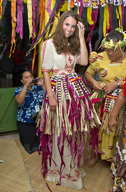 The Duchess donned a traditional Tuvaluan dress during her visit for the Diamond Jubilee Tour.