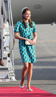 A bright geometric print enlivened Kate Middleton's mod day dress.