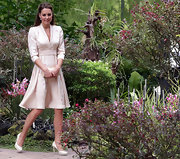 Kate Middleton looks prim, proper, and pretty in her blush pumps.