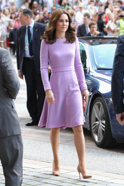 Kate Middleton opted for a simple yet sweet lavender fit-and-flare dress by Emilia Wickstead for her visit to the Maritime Museum in Hamburg, Germany.
