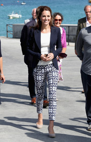 Kate Middleton paired blue and white print pants by Gap with a navy blazer and a ribbed top for a visit to the Isles of Scilly.