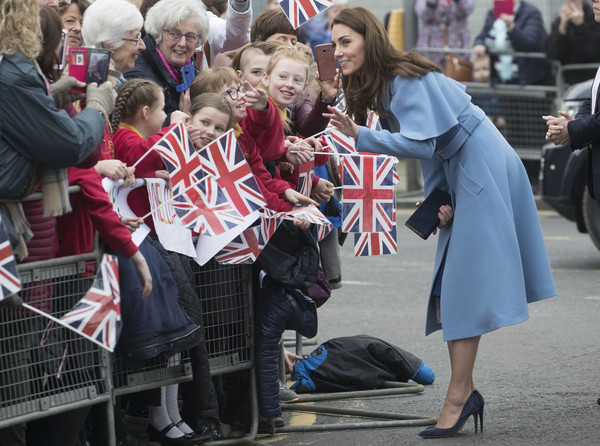 More Pics of Kate Middleton Long Side Part (1 of 90) - Kate Middleton Lookbook - StyleBistro [people,crowd,event,flag,recreation,tradition,fan,street,catherine,prince william,wife,duchess,northern ireland,duchess of cambridge,cambridge,windsor park stadium,duke,visit]